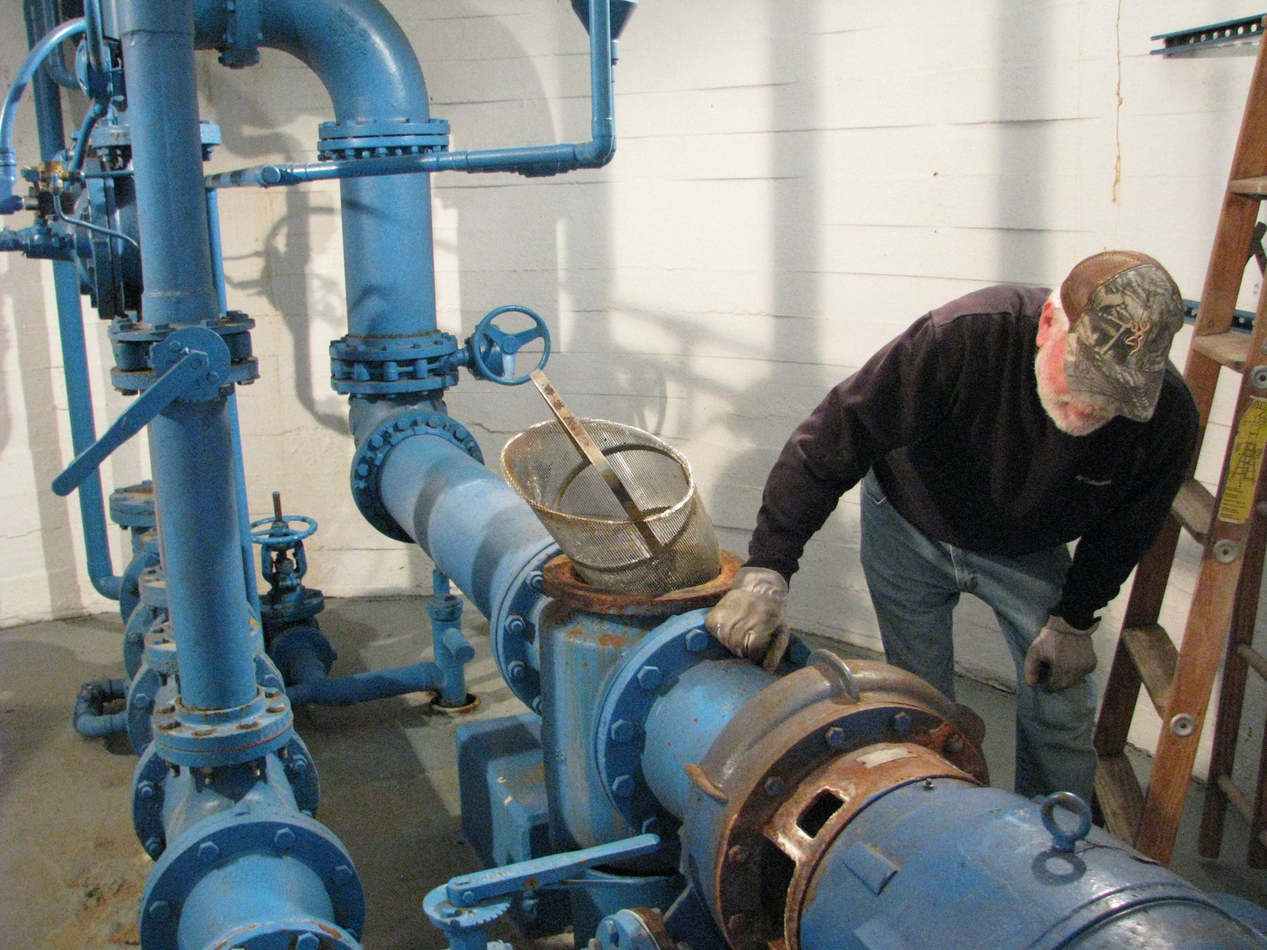Water pumps, filters, and shut off valves