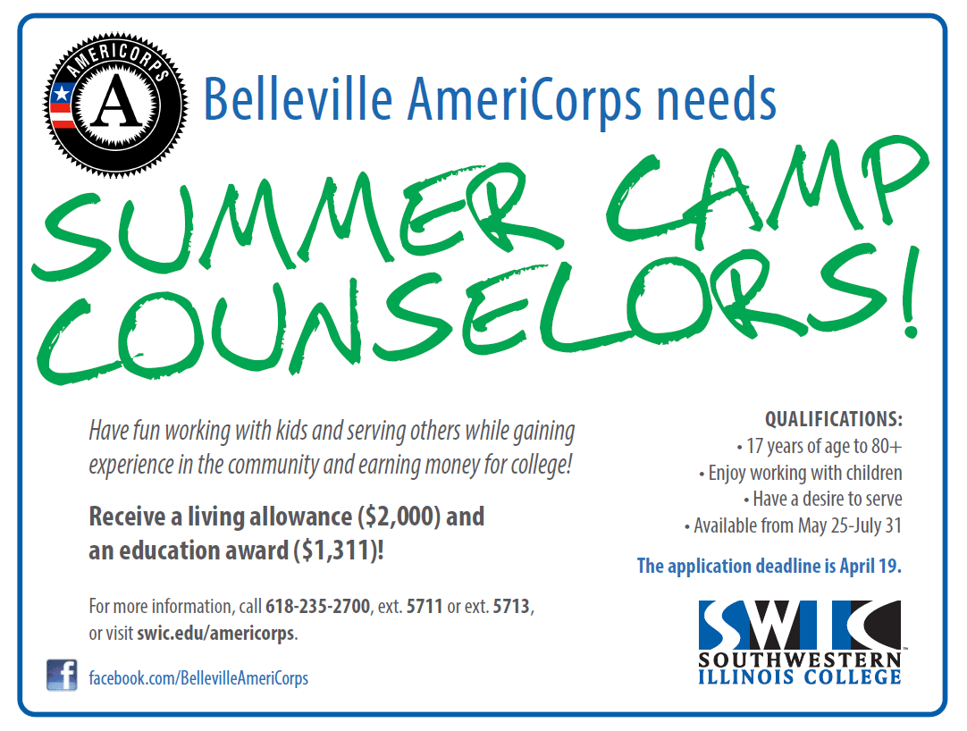 Belleville AmeriCorps 2021 Summer Camp Counselor Flier